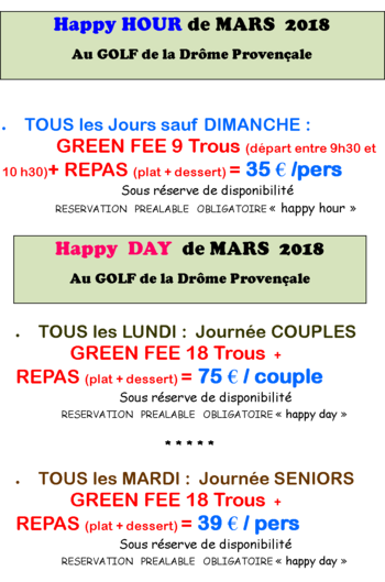 Happy Hour et Happy Day au Golf de la Drôme Provençale